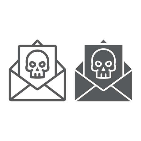 Crime letter line and glyph icon, scary and note, mail sign, vector graphics, a linear pattern on a white background. Illustration