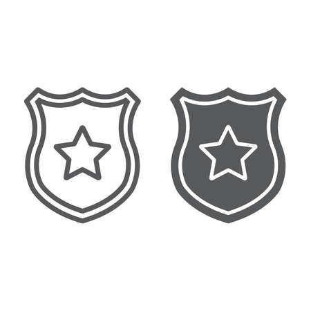 Police badge line and glyph icon, officer and law, shield with star sign, vector graphics, a linear pattern on a white background. Illustration