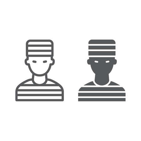 Prisoner line and glyph icon, crime and law, criminal sign, vector graphics, a linear pattern on a white background.