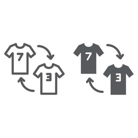 Player substitution line and glyph icon, game and sport, tshirt with arrows sign, vector graphics, a linear pattern on a white background.