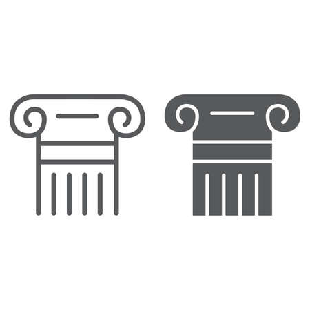Greek column line and glyph icon, pillar and antique, legality sign, vector graphics, a linear pattern on a white background. Illustration