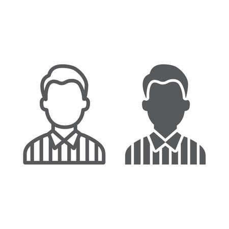 Icono de línea y glifo de árbitro, deporte y fútbol, signo de hombre, gráficos vectoriales, un patrón lineal sobre un fondo blanco. Ilustración de vector