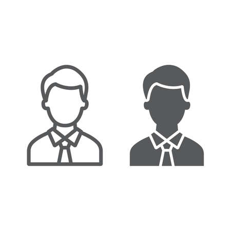 Advocate line and glyph icon, justice and law, person sign, vector graphics, a linear pattern on a white background. 일러스트