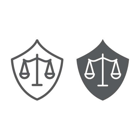 Defense line and glyph icon, law and justice, shield sign, vector graphics, a linear pattern on a white background.
