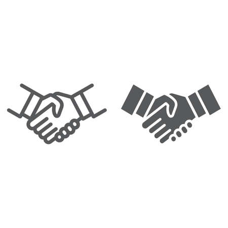 Handshake line and glyph icon, shake and agreement, diplomacy sign, vector graphics, a linear pattern on a white background.
