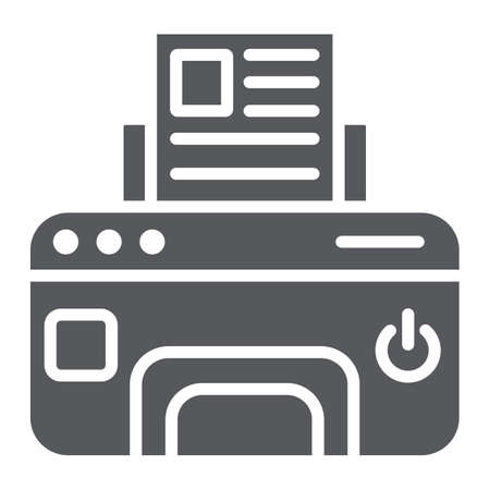 Printer glyph icon, device and print, fax sign, vector graphics, a solid pattern on a white background. 矢量图像