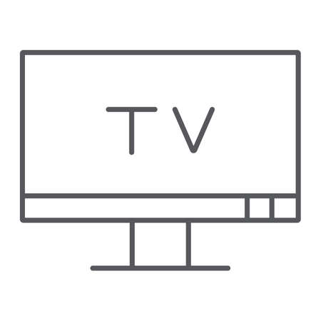 TV thin line icon, screen and display, television sign, vector graphics, a linear pattern on a white background. 向量圖像