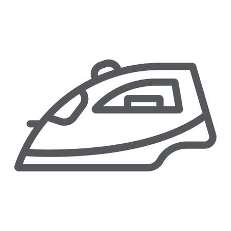 Iron line icon, appliance and home, steam iron sign, vector graphics, a linear pattern on a white background. Vecteurs
