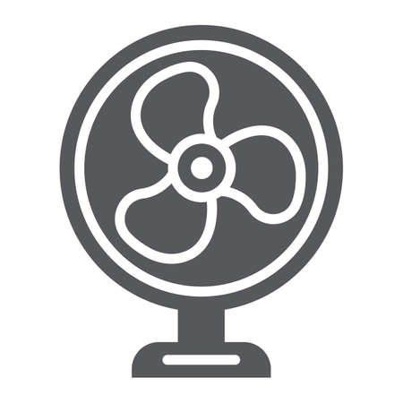 Table fan glyph icon, propeller and electric, air cooler sign, vector graphics, a solid pattern on a white background.