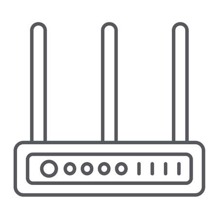Router thin line icon, network and connection, internet sign, vector graphics, a linear pattern on a white background.
