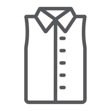 Sleeveless shirt line icon, clothes and fashion, shirt without sleeve sign, vector graphics, a linear pattern on a white background.