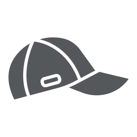 Cap glyph icon, clothes and accessory, sport hat sign, vector graphics, a solid pattern on a white background.