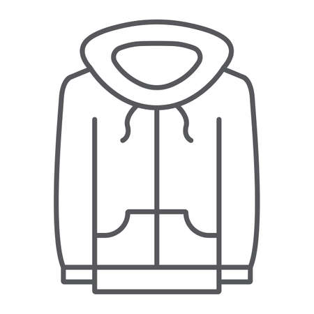 Sweatshirt thin line icon, clothes and sport, hoodie sign, vector graphics, a linear pattern on a white background.