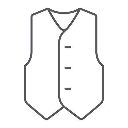 Waistcoat thin line icon, clothes and suit, formal vest sign, vector graphics, a linear pattern on a white background.