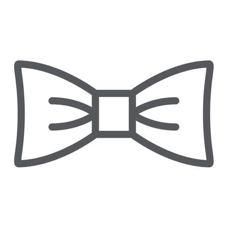 Bow tie line icon, clothes and accessory, butterfly knot sign, vector graphics, a linear pattern on a white background. Illustration
