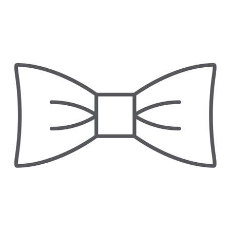 Bow tie thin line icon, clothes and accessory, butterfly knot sign, vector graphics, a linear pattern on a white background.