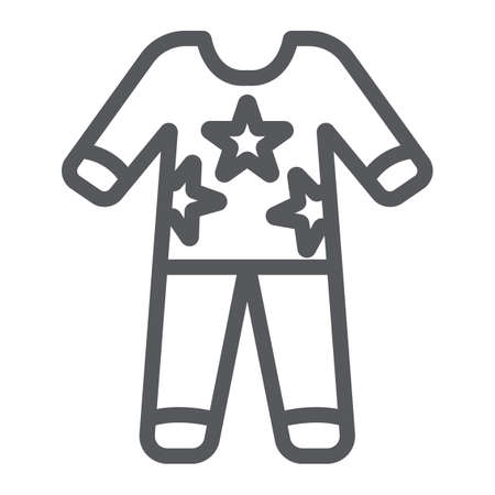 Pajamas line icon, clothes and nightwear, pyjama sign, vector graphics, a linear pattern on a white background.