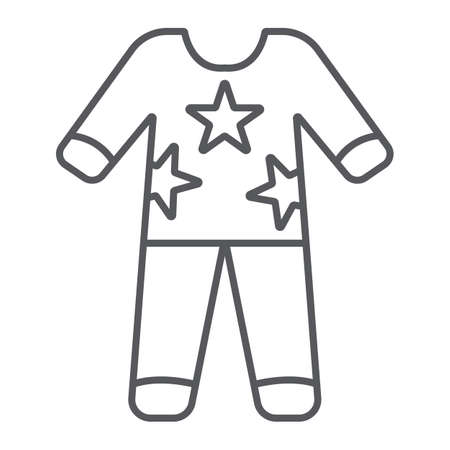 Pajamas thin line icon, clothes and nightwear, pyjama sign, vector graphics, a linear pattern on a white background. Ilustração