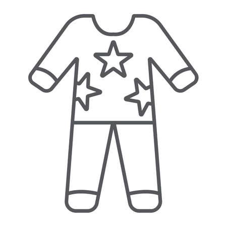 Pyjama dunne lijn pictogram, kleding en nachtkleding, pyjama teken, vector graphics, een lineair patroon op een witte achtergrond.