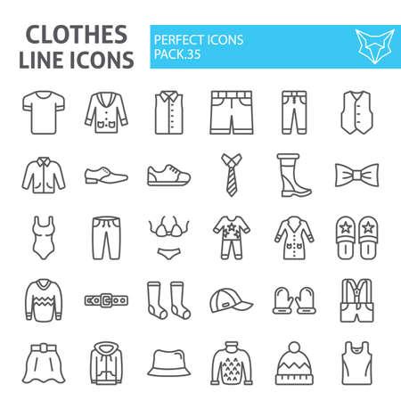 Insieme dell'icona della linea di vestiti, collezione di simboli di abbigliamento, schizzi vettoriali, illustrazioni, pacchetto di pittogrammi lineari di segni di usura isolato su priorità bassa bianca.