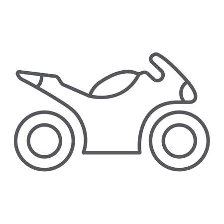 Sportbike thin line icon, transport and drive, motorbike sign, vector graphics, a linear pattern on a white background.
