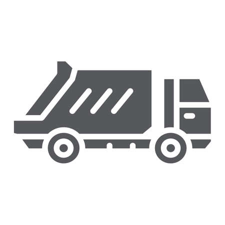Garbage truck glyph icon, transportation and auto, waste lorry sign, vector graphics, a solid pattern on a white background.