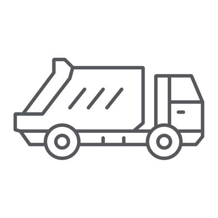 Garbage truck thin line icon, transportation and auto, waste lorry sign, vector graphics, a linear pattern on a white background.