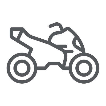 Quad bike line icon, transport and drive, motorcycle sign, vector graphics, a linear pattern on a white background. Ilustrace