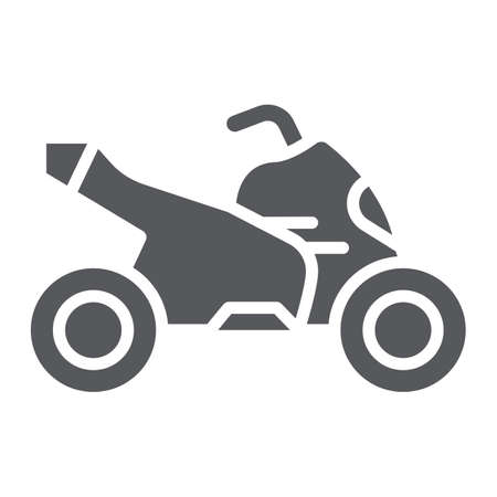 Quad bike glyph icon, transport and drive, motorcycle sign, vector graphics, a solid pattern on a white background.