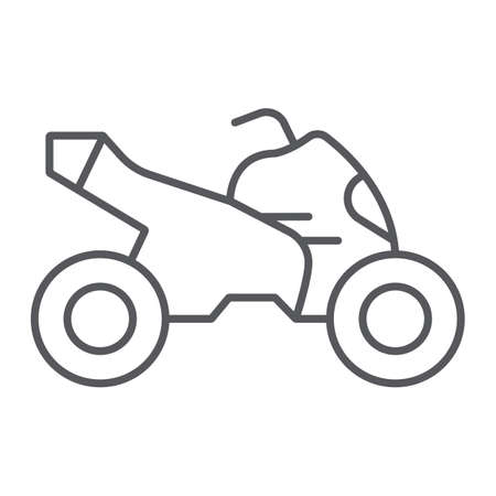 Quad bike thin line icon, transport and drive, motorcycle sign, vector graphics, a linear pattern on a white background.