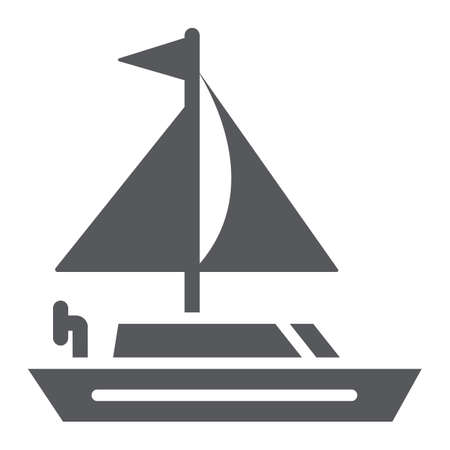 Yacht glyph icon, transportation and boat, sailboat sign, vector graphics, a solid pattern on a white background.