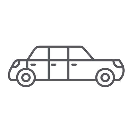 Limousine thin line icon, luxury and automobile, limo sign, vector graphics, a linear pattern on a white background.