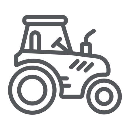 Tractor line icon, transportation and agriculture, harvest machine sign, vector graphics, a linear pattern on a white background.