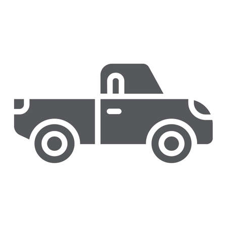 Pickup glyph icon, transport and automobile, truck sign, vector graphics, a solid pattern on a white background.
