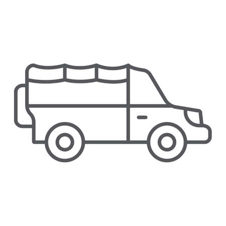 Safari car thin line icon, transportation and auto, suv sign, vector graphics, a linear pattern on a white background.