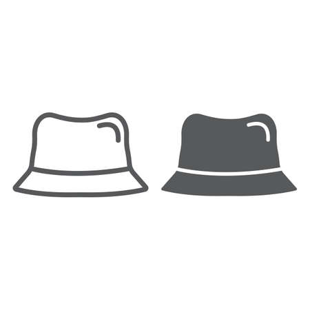 Panama hat line and glyph icon, clothes and accessory, cap sign, vector graphics, a linear pattern on a white background.  イラスト・ベクター素材