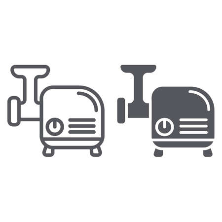 Meat grinder line and glyph icon, kitchen and utensil, chopper sign, vector graphics, a linear pattern on a white background.