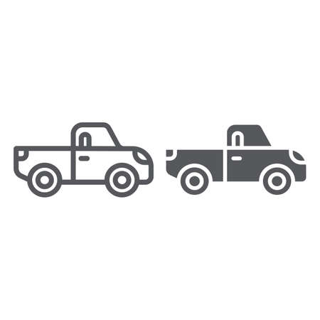 Pickup line and glyph icon, transport and automobile, truck sign, vector graphics, a linear pattern on a white background.