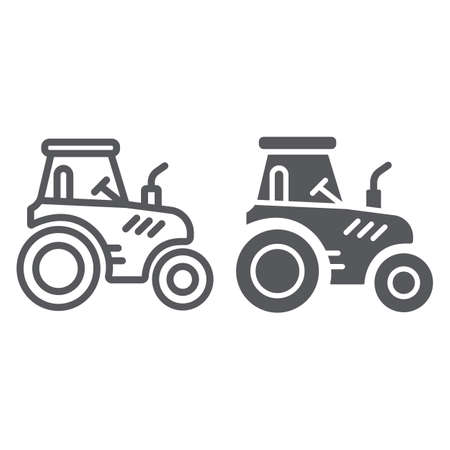Tractor line and glyph icon, transportation and agriculture, harvest machine sign, vector graphics, a linear pattern on a white background.