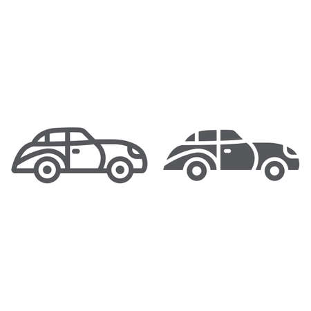 Retro car line and glyph icon, vintage and automobile, old car sign, vector graphics, a linear pattern on a white background.