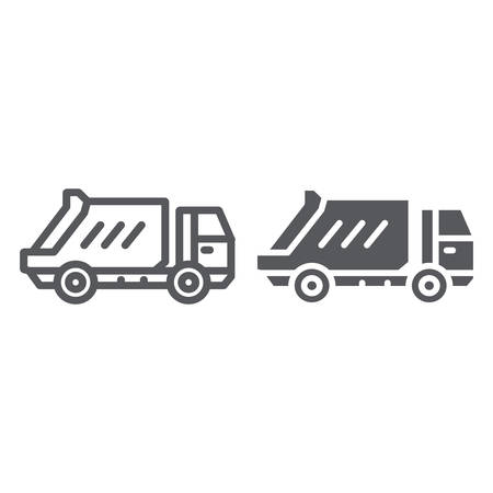Garbage truck line and glyph icon, transportation and auto, waste lorry sign, vector graphics, a linear pattern on a white background.