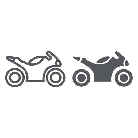 Sportbike line and glyph icon, transport and drive, motorbike sign, vector graphics, a linear pattern on a white background. Illustration