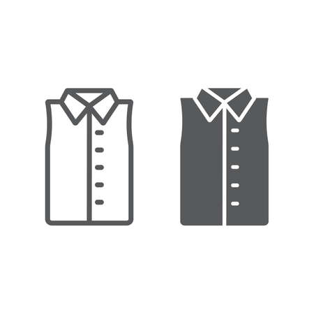 Sleeveless shirt line and glyph icon, clothes and fashion, shirt without sleeve sign, vector graphics, a linear pattern on a white background.