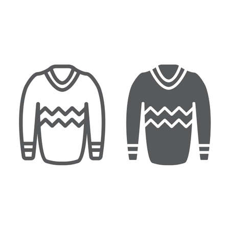 Pullover line and glyph icon, clothes and fashion, sweater sign, vector graphics, a linear pattern on a white background.