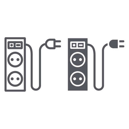 Electric extension line and glyph icon, energy and plug, socket sign, vector graphics, a linear pattern on a white background.
