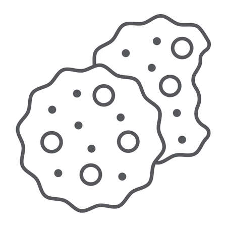 Cookies thin line icon, sweet and food, biscuit sign, vector graphics, a linear pattern on a white background.