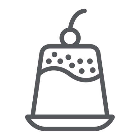 Pudding line icon, sweet and food, dessert sign, vector graphics, a linear pattern on a white background.