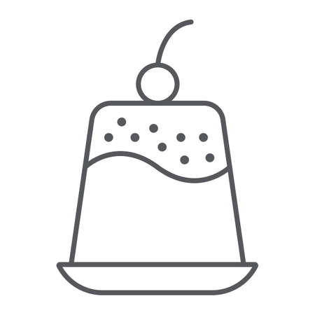Pudding thin line icon, sweet and food, dessert sign, vector graphics, a linear pattern on a white background. 일러스트