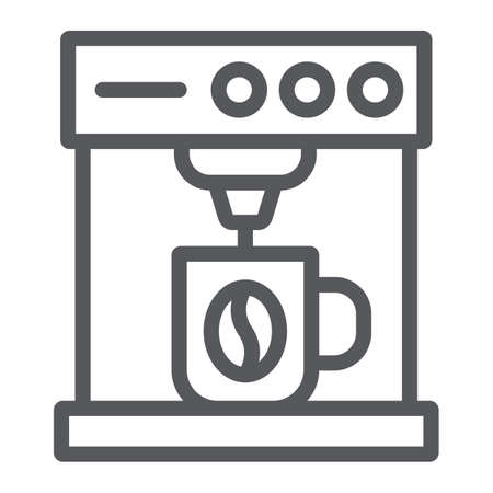 Coffee machine line icon, coffee and appliance, coffee maker sign, vector graphics, a linear pattern on a white background.