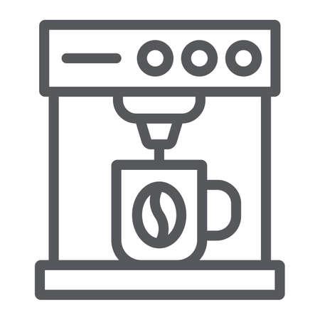 Koffiemachine lijn pictogram, koffie en apparaat, koffiezetapparaat teken, vector graphics, een lineair patroon op een witte achtergrond.